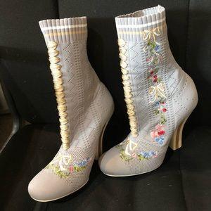 Fendi Grey Embroidered Sock Booties